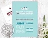 DIY Custom Wedding Invitation Suite and Response Card for Beach Wedding - Modern Kissing Whales Printable PDF