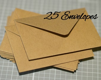 Small Kraft Envelopes (25) ... Business Card Envelopes Thank You Notes Recycled Eco Friendly Rustic Gift Card Wedding Guest Book Euro Flap