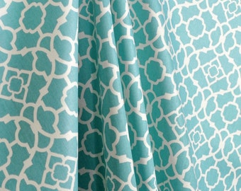 Waverly lovely lattice drapes, pair, two 50W panels, Waverly curtains, aqua blue and ivory drapes