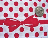 Vintage Cotton Novelty Fabric with Red Bows and Polka Dots  - 36 x 24