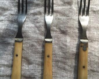 Set of 3 Bone and Carbon Steel Forks, Civil War Era