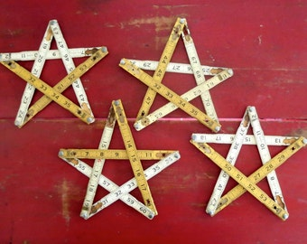 4 folding ruler stars, Stars, Handmade stars, Rustic stars,  Primitive stars, Yellow and white stars, Stars made from old rulers