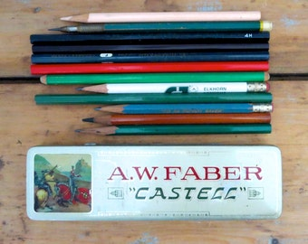 1 vintage faber castell pencil tin, vintage pencil holder, metal pencil case, vintage pencil case old drawing supplies old pencils A W Faber
