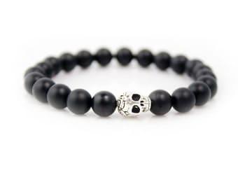 Valentines Day Gift for Him, Skull Bracelet,Men's Bracelet,Skull,Onyx Bracelet,Wrist Mala,Beaded Bracelet,Gemstone Bracelet,Healing Jewelry