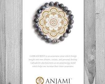 LABRADORITE Bracelet,Mala Bracelet,Beaded Bracelet,Gemstone Bracelet,Yoga Jewelry,Inspirational Jewelry,Healing Jewelry, Gift for Her