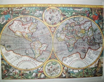 1968 Vintage Lithograph Of Antique World Map - Dutch - Printed In Amsterdam