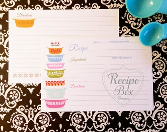 Recipe Cards for Bridal Shower, Vintage Bowls Recipe Cards, 4x6 Double Sided Kitchen Shower Gift Idea, Vintage Bowls, Retro Recipe Cards