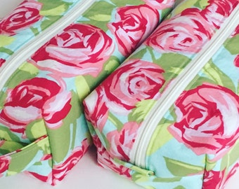 READY TO SHIP Toiletry Bag Women, Travel  Bag, Toiletry Bag,  Roses