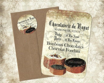 Note Cards, Bakery, French Style, Note Card Set, Stickers