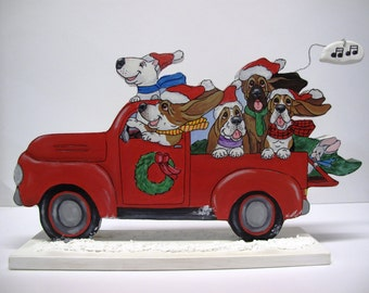 """Hand Painted Basset Hound Christmas/Holiday Table Top Art - """"Singing Pick-up Hounds and Friends"""""""