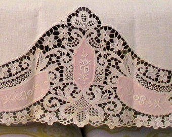 Linen Guest Towel, Battenburg Lace with Pink Embroidered Inserts