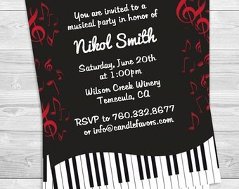 Music Notes Piano - Birthday Party Invitation Professionally printed *or* DIY printable PDF