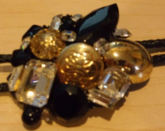 Blingtastic Bolo Tie Gold With Clear and Black Rhinestones
