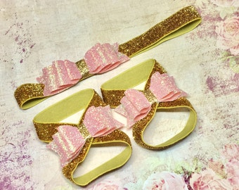 Baby Girl Gold Pink Headband Barefoot Sandals Gift Set Shiny Glitter Newborn Infant Baby Shower Gift First Christmas bow 1st Birthday Outfit