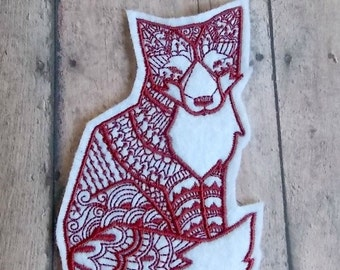 Fox Embroidered Felt Patch, Iron On or Sew On Patch, Red or Pink