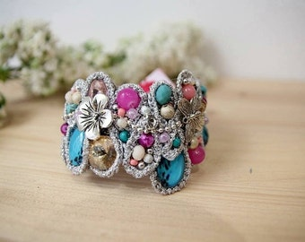 One of a kind cuff bracelet  -  turquoise and pink