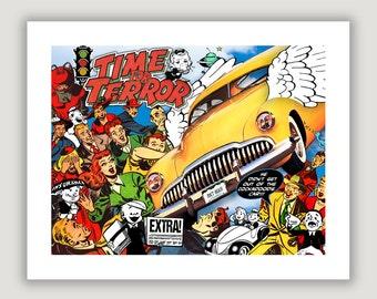 Digital Collage Art, Cockadoodie Car, funny wall art, surreal art, comic book art, humor art, dorm poster, man cave decor, unique home decor