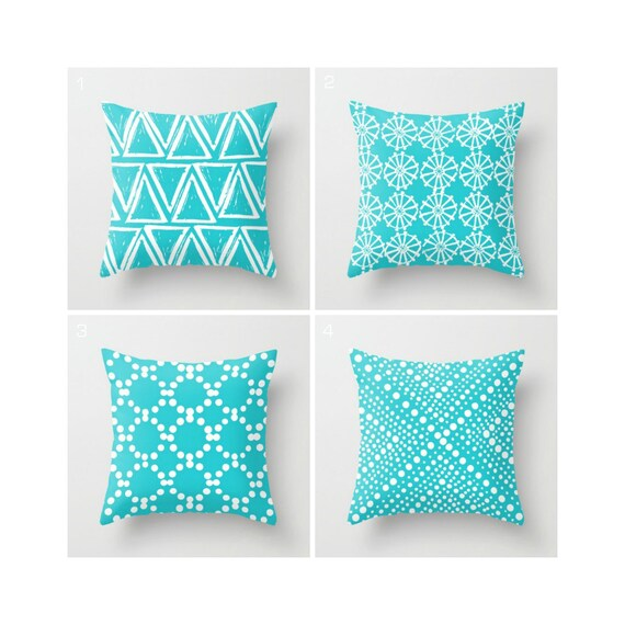 Aqua Throw Pillow - Modern Throw Pillow - Geometric Pillow - White Triangle - Turquoise Cushion - Turquoise Throw Pillow 16 18 20 24 inch