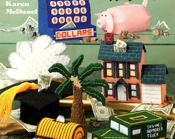 Plastic Canvas Needlepoint Banks Piggy Cash Register Treasure Chest Armored Truck House Mortar Board Rainy Cloud Craft Pattern Leaflet 3092