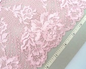 Pink stretch lace, Elastic lace, Embroidered lace, Stretch lace, Lingerie lace, Pink lace, 3 yards RD118