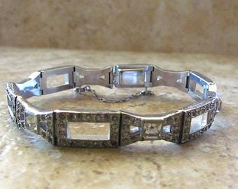 Vintage Art Deco Style Rhinestone Bracelet