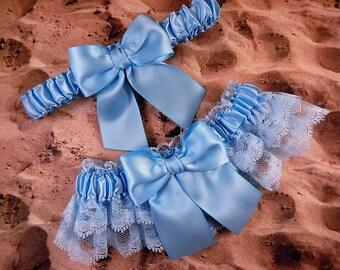 Light Blue Satin Light Blue Double Lace Wedding Garter Set Toss