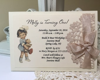 Teddy Bear Invite Etsy - Vintage girl birthday invitation