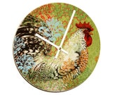"SILENT 9"" Colorful Rooster Wall Clock, Boho Rooster Clock, Ceramic Plate Clock, Unique Wall Decor, Kitchen Clock, Country Rustic Clock  1949"