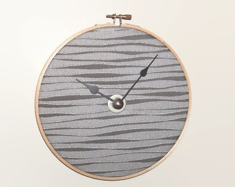 7.5 Inch Fabric Wall Clock in Gray Wavy Pattern, SILENT Quartz Clock Movement, Embroidery Hoop Clock - 2182