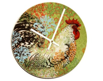 """SILENT 9"""" Colorful Rooster Wall Clock, Boho Rooster Clock, Ceramic Plate Clock, Unique Wall Decor, Kitchen Clock, Country Rustic Clock  1949"""