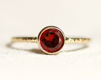 Simple Almandine Garnet Ring in Solid 14k Gold with Hammered Band - Rose or White or Yellow Gold - Bezel Set Ring with January Birthstone