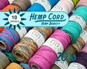 Hemp Cord, Bulk Hemp Twine,  1mm  Macrame Cord,  Jewelry Cord, Bead Cord, 10 Hemp Spools