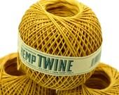 Gold  Twine,  275 feet, Hemp Twine, 1mm,  Gold Hemp String,  Twine Ball  -T67