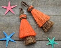 Double Layer Horsehair  Tassel,   3 inch, 1pc,  Orange, Jewelry  Tassels, Horse Hair, Cowgirl,  key Chain Tassel -CS573