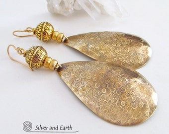 Large Gold Earrings Long Dangle Hammered Brass Earrings Artisan Handmade Metal Jewelry Bold Exotic Boho Chic Modern Bohemian Tribal Jewelry