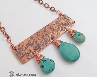Genuine Turquoise Necklace Copper Bar Necklace Handmade Metalwork Wearable Art Statement Necklace Bohemian Chic Boho Glam Cleopatra Jewelry