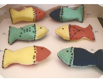 Mini Felt Fish Ornaments/ 6 Choices to pick from*/ Single Or Set of 3/ Handmade/Made to Order**