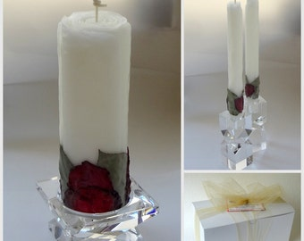 White & Red Rose Candles, Unique Unity Candle Set, Romantic Wedding, Unity Ceremony Decor, Unique Candles, Handmade Beeswax Unity Candles