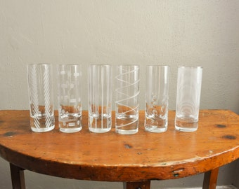 Etched Shot Glass Set of 6 each a different Style Mikasa