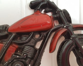 Vintage Motorcycle Wall Hanging 7.5X4 Inches Cast Iron