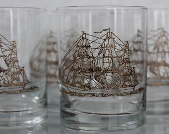 Glittering Gold Ship 4 set of Glasses