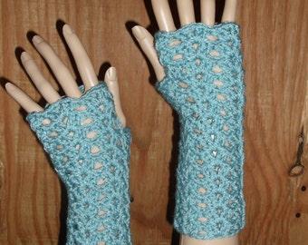 Crochet Wrist Warmers, Fingerless Gloves, Lacey Crochet Gloves, Crochet Gloves, Wirst Warmers, Winter Gloves, in Sea Blue