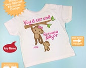 Spanish I'm Going to Be A Big Sister Shirt, Big Sister Onesie, Personalized Voy a ser una Hermana Mayor (07022012a)