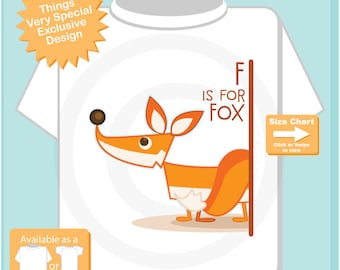 Kids Fox Shirt | F is for Fox Shirt or Onesie Outfit for kids great alphabet learning gift | 03242016d