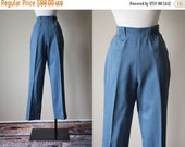 ON SALE 50s Pants - Vintage 1950s H Bar C Pants - Chambray Blue Western Wool Trousers - Cowgirl Strut Slacks