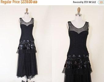 ON SALE 1930s Dress - Vintage 30s Evening Gown - Black Sequin Fishnet Deco Dress S M - Daredevil Dress