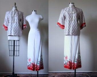 1940s Silk Jacket and Palazzo Pants - 40s Chinese Art Deco Pajamas - After Party Pajama Set