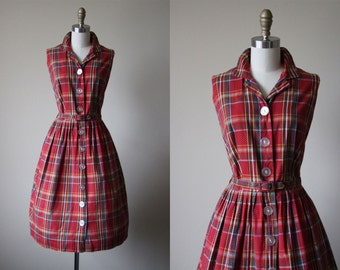 R E S E R V E D 50s Dress - Vintage 1950s Dress - Red Mustard Plaid Cotton Full Skirt Sundress XL XXL - Zip and Zest Dress