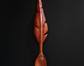 RED FEATHER wooden spoon hand carved by Spoontaneous, wood spoon, wood carving, art spoons, kitchen, sculptural spoon