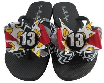 Softball Flip Flops - Glitter Number Chevron Bows - Design your own ribbon colors - softball gift for girl's sandals, bling